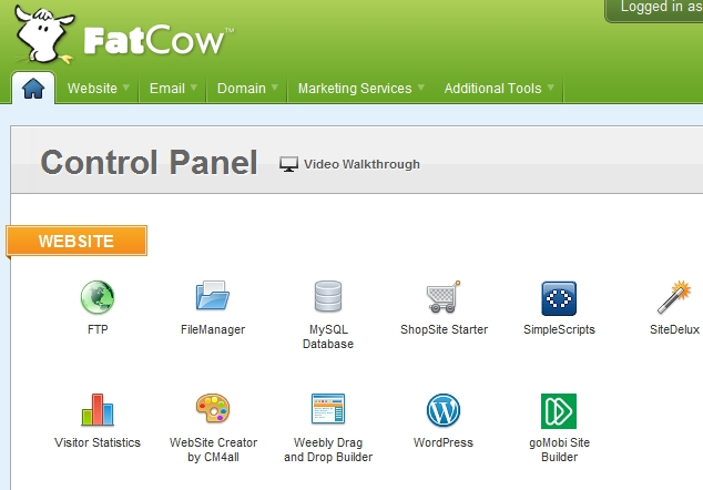 FatCow's Control Panel